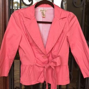 Forever 21 salmon pink super cute ruffle blazer
